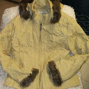 Cabi yellow/gold colored jacket w/hood. Size M